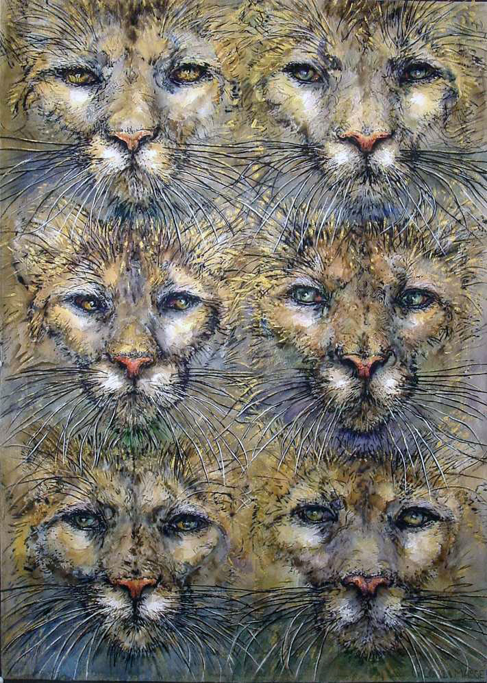 six cougars 2001 watercolor 22x30