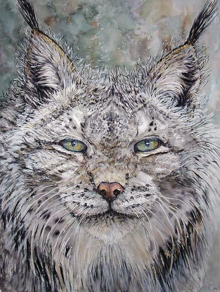 lynx with glacier eyes 2001 acrylic and watercolor 30x22