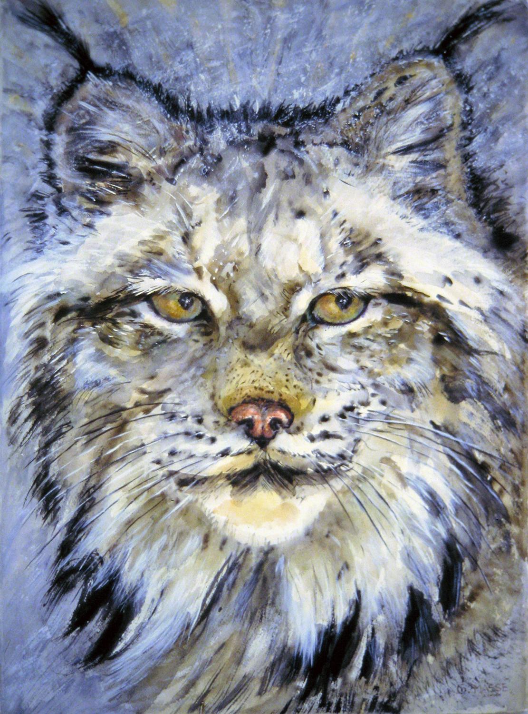 lynx with glacier eyes 2000 watercolour 30x22