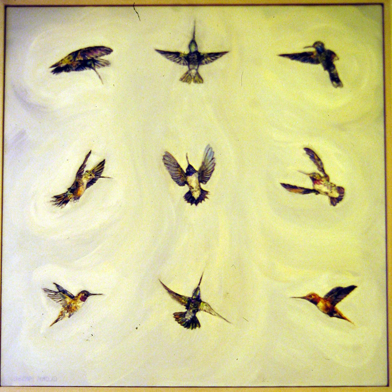 hummingbirds 1999 oil 30x30