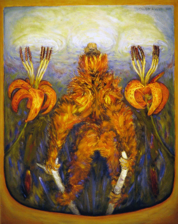 orangutan with wild lilies 1996 oil 30x24
