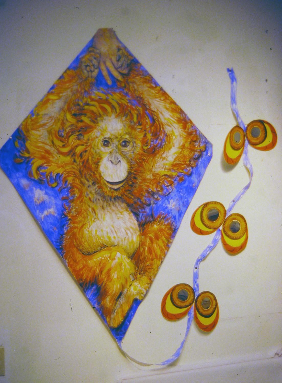 baby orangutan kite 1996 acrylic on canvas 48x36