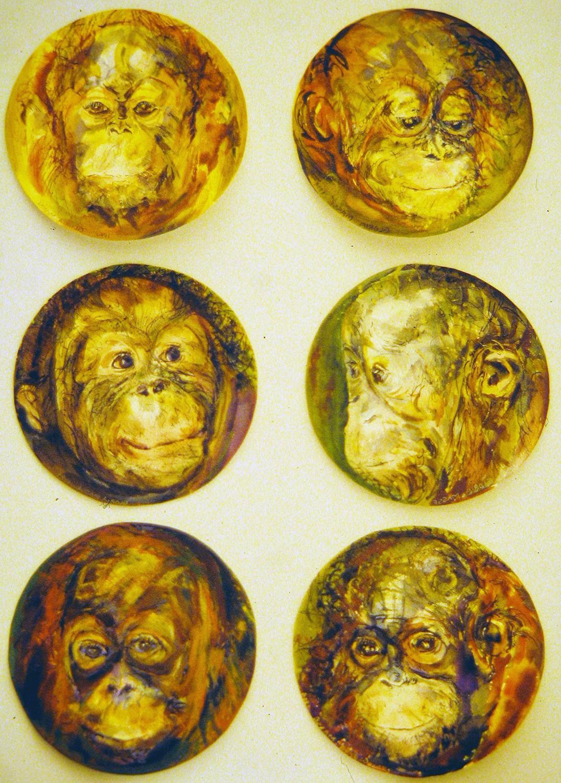 baby orangutans 1995 watercolour 8in diameter (5)
