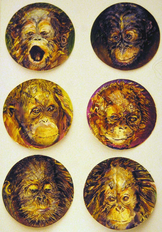 baby orangutans 1995 watercolour 8in diameter (3)