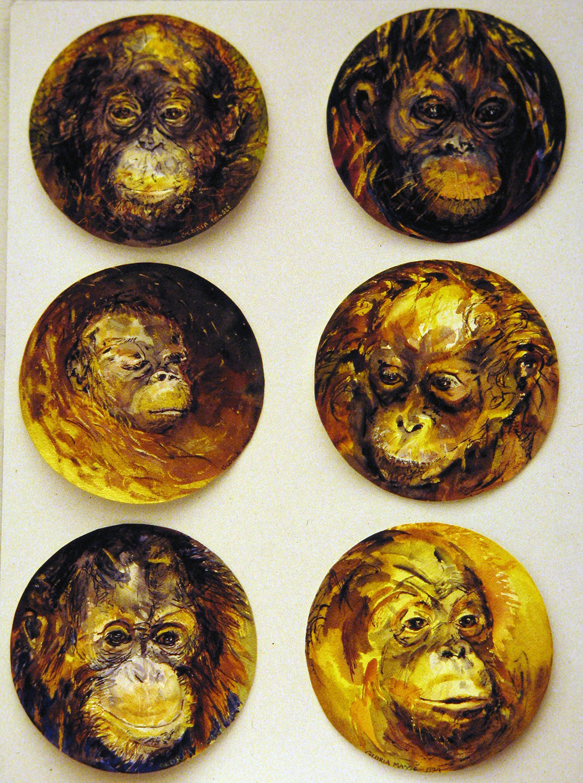 baby orangutans 1995 watercolour 8in diameter (4)