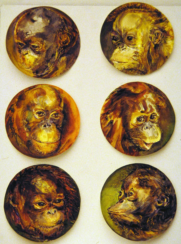 baby orangutans 1995 watercolour 8in diameter (1)