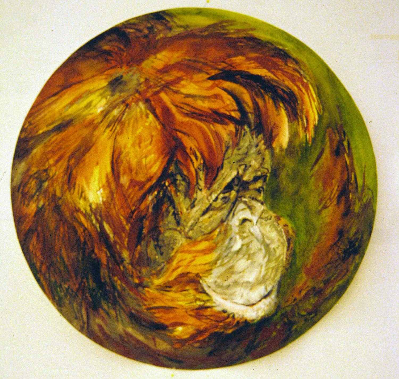 adult orangutan 1994 watercolour 23in diameter (8)
