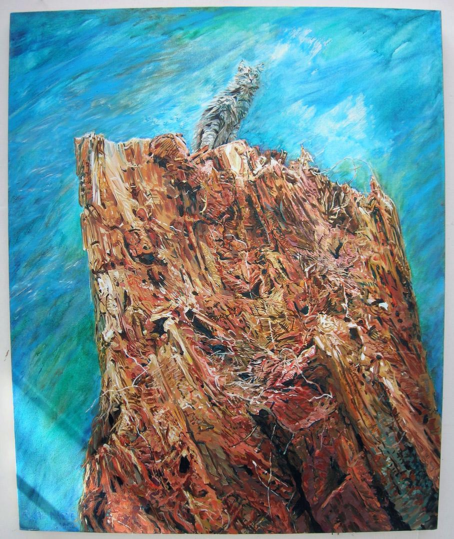 island cat 1992 acrylic 36x44