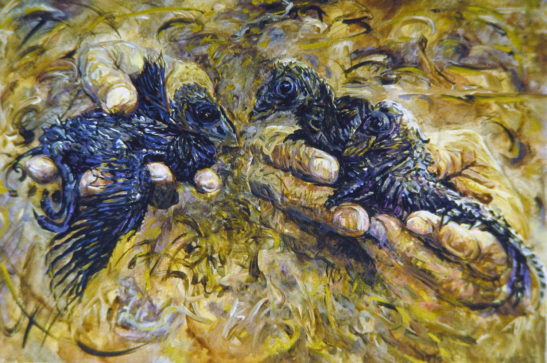 amazon babies in human hands 1990 oil 24x30