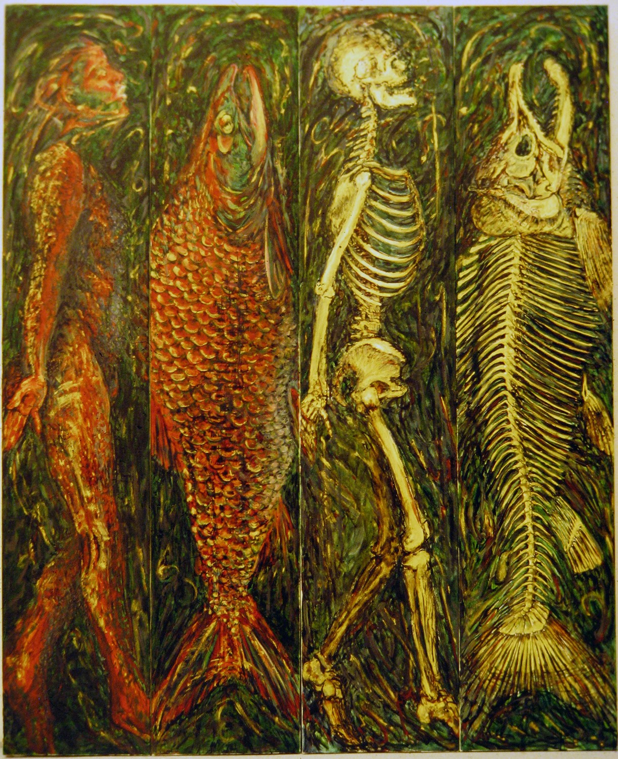 salmon and man 4 panels 1988 oil 72x56