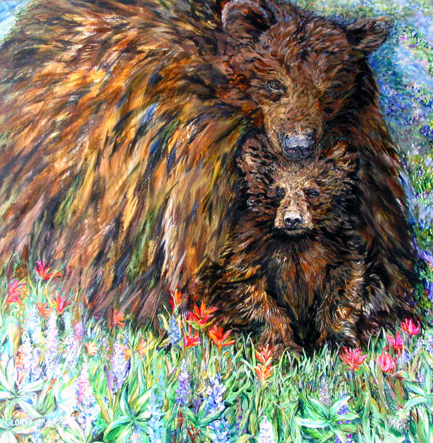 mother and cub in wild flowers 2006 acrylic 36x36