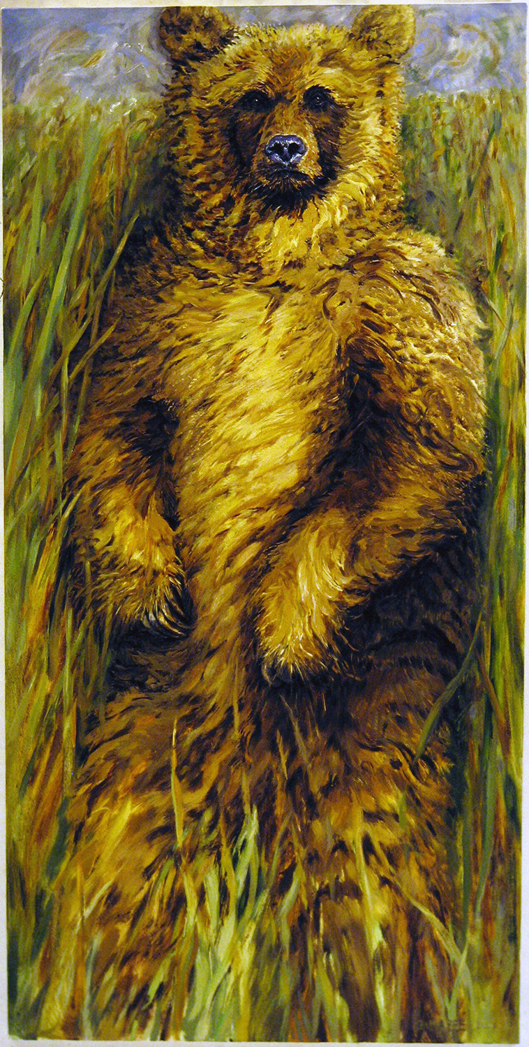 grizzily standing 2001 oil 72x36