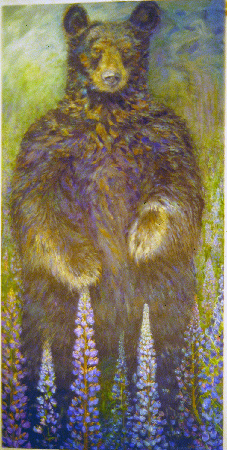 black bear with lupin 2001 oil 72x36