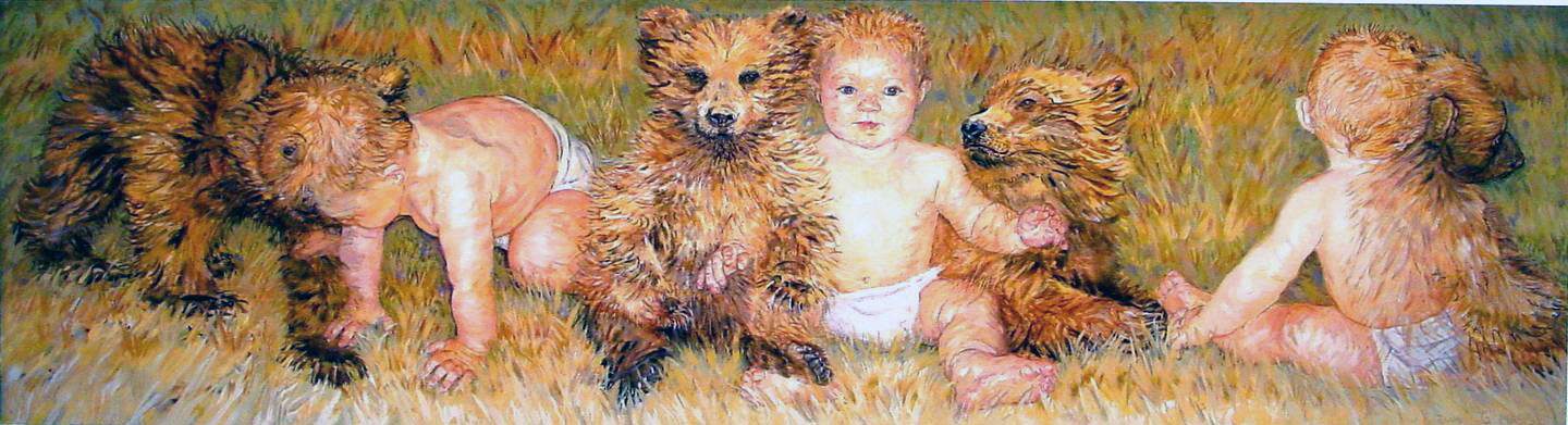 babies and cubs 2000 giclee 30x43