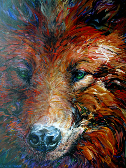 wolf in red light 2011 acrylic 48x36