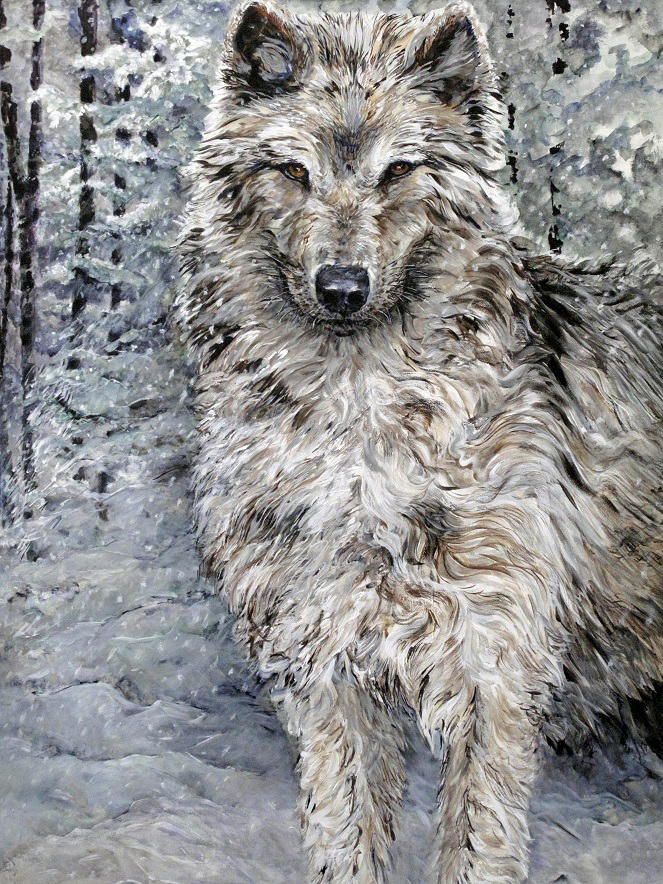 the woods-the snow-the wolf 2011 acrylic 72x48