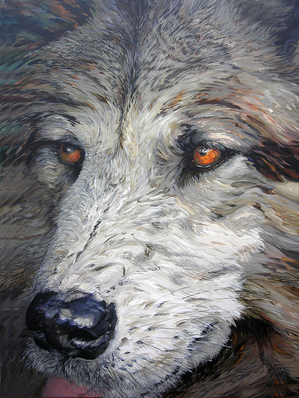 wolf with hot eyes 2010 acrylic 42x54