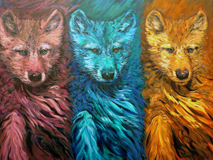 three wolf pups rose-turquoise-rust 2010 acrylic 36x30