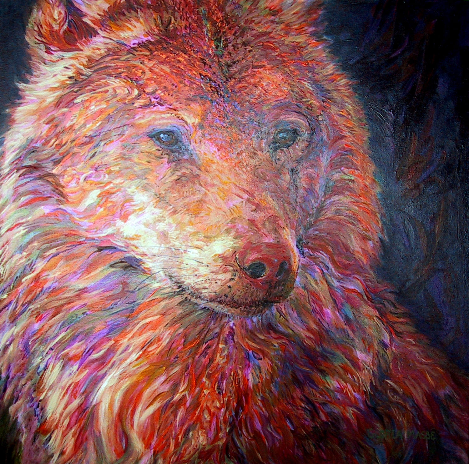 wolf in amber light 2006 acrylic 30x30