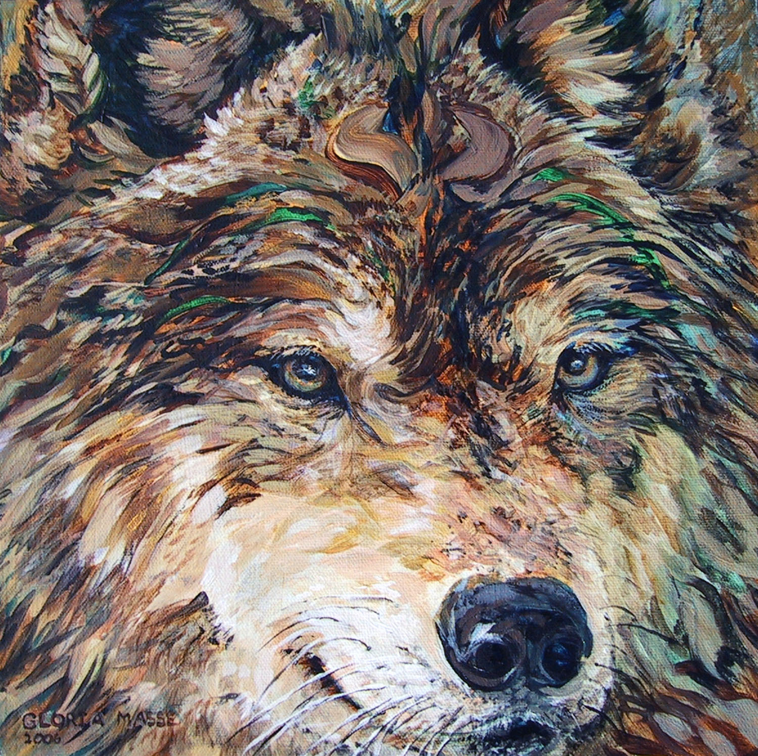 brown wolf with veridian green 2006 acrylic 12x12
