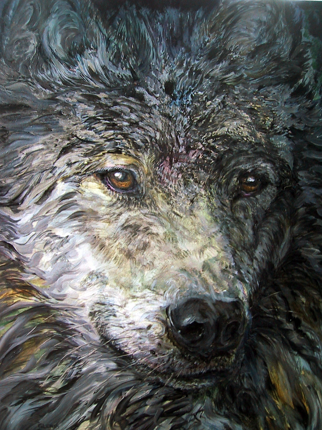 wild night wolf 2005 acrylic 24x30