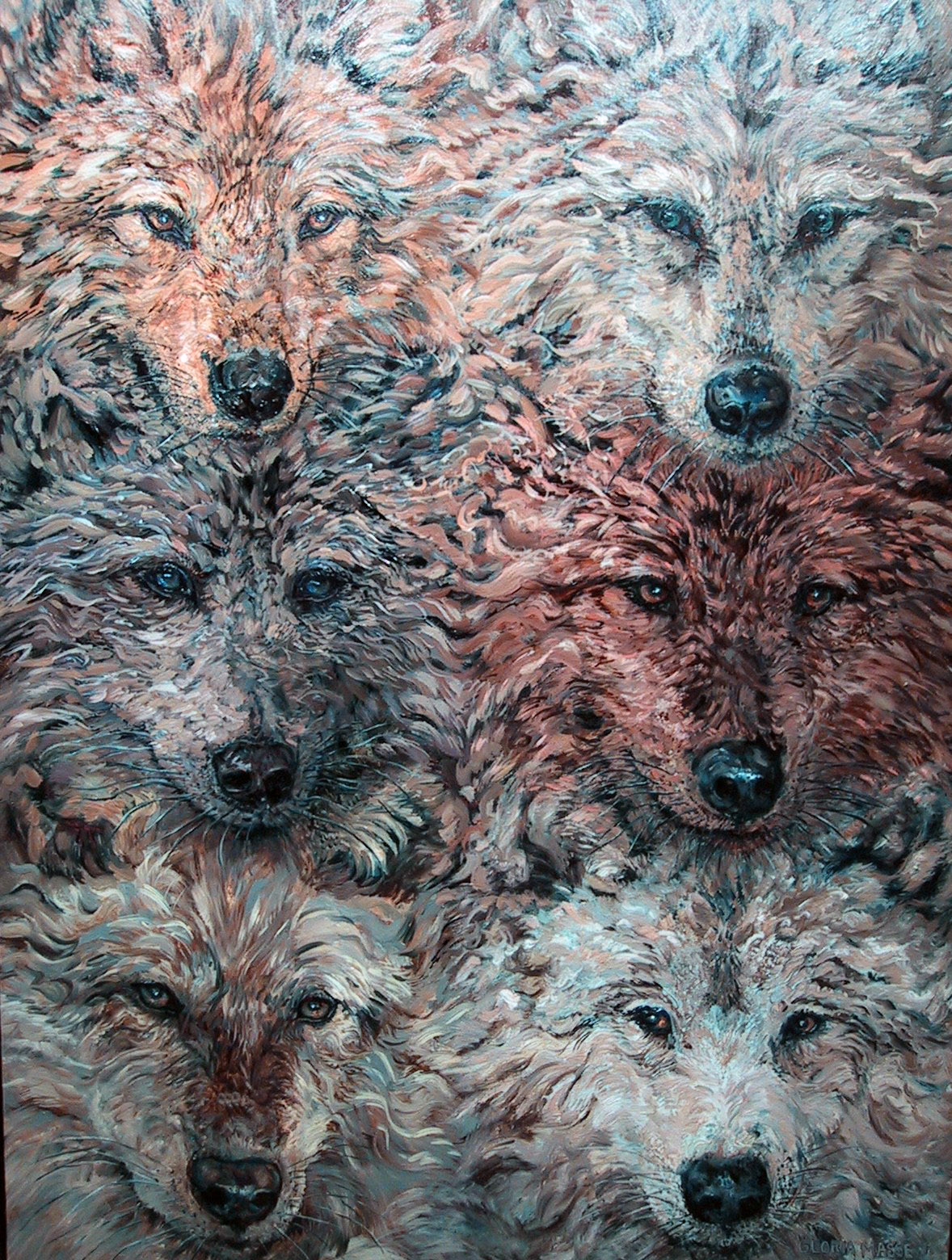 six wolves 2004 oil on canvas 30x40