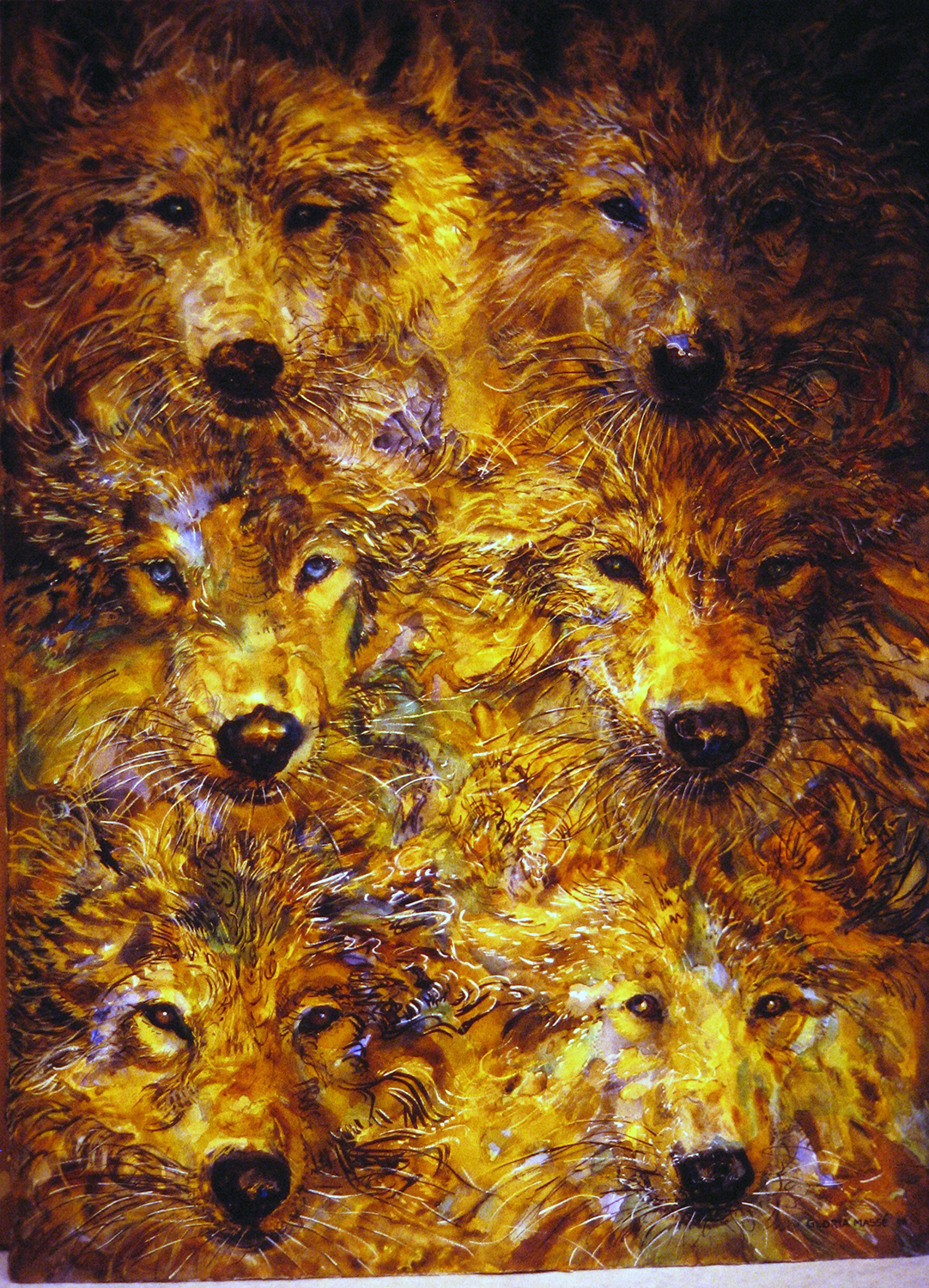 six young wolves 2003 watercolour 30x22