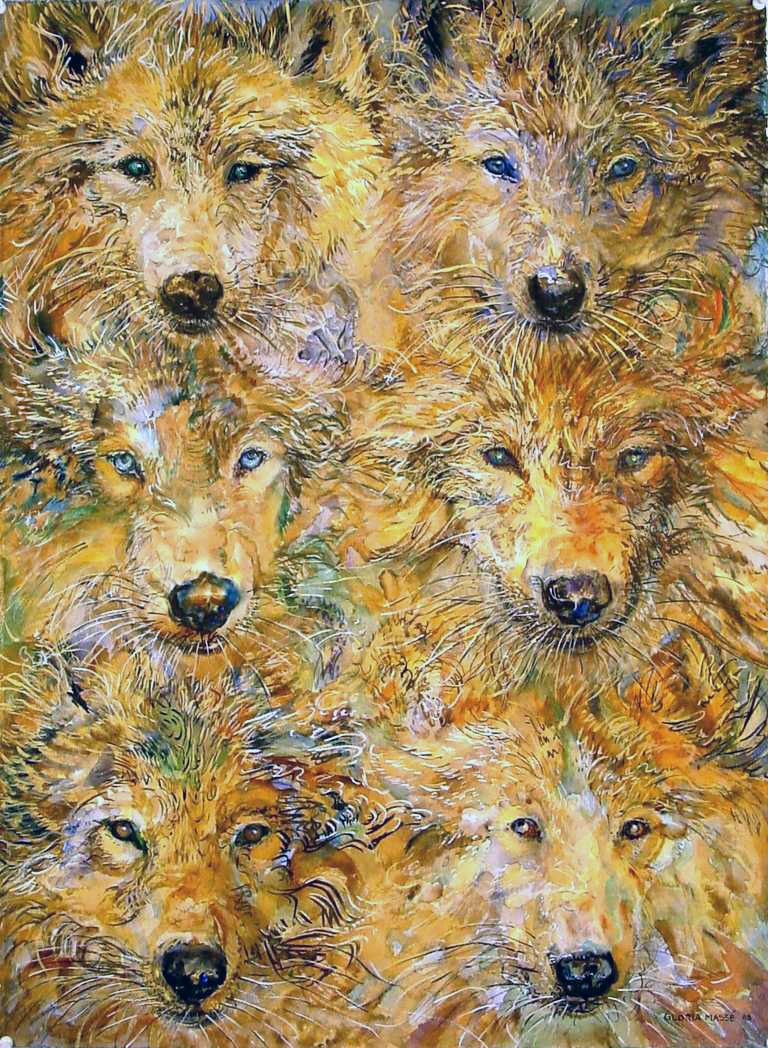 six brown wolves 2003 watercolor 30x22