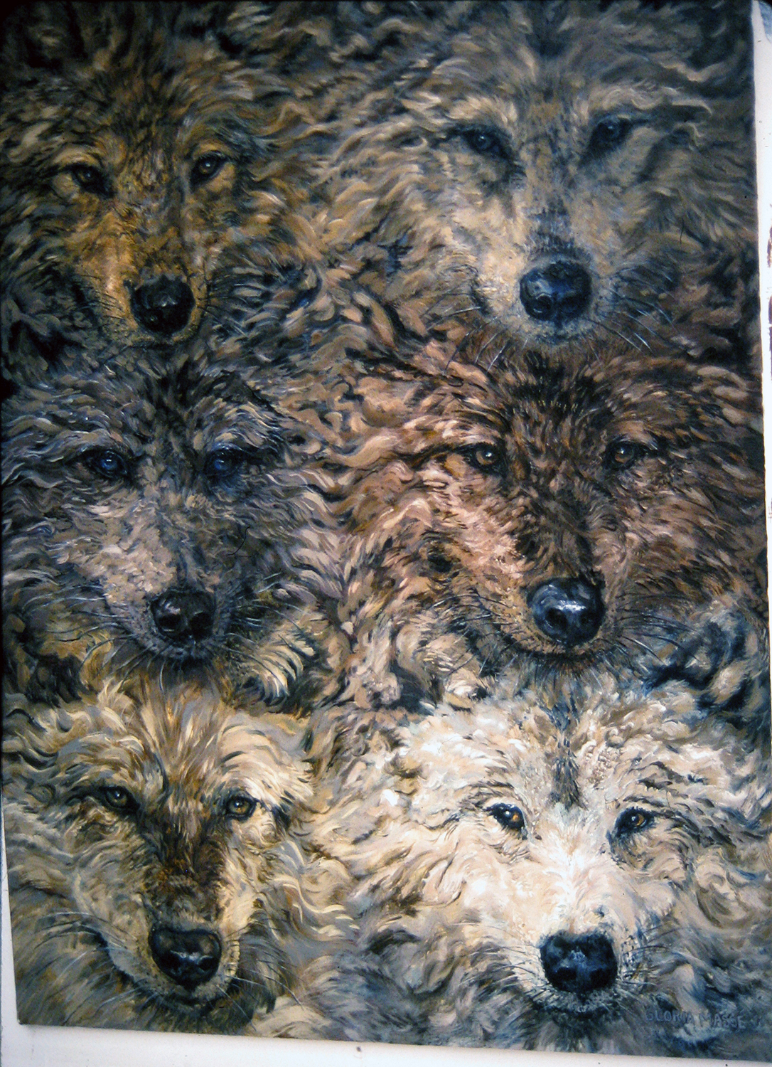 six wolves 2003 watercolour 30x22