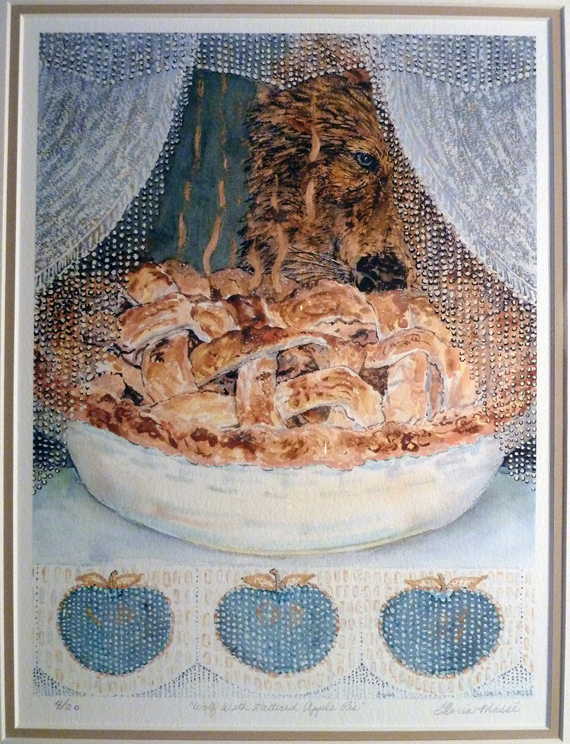 wolf with latticed apple pie 2001 watercolour 12x9