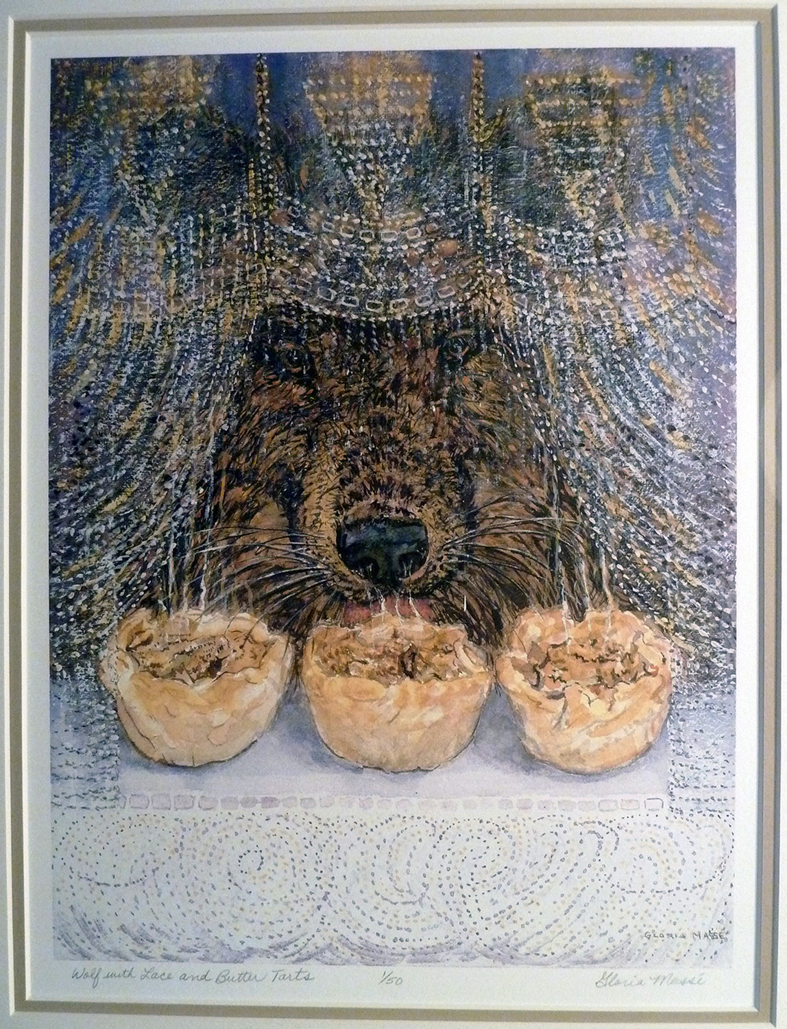 wolf with lace and butter tarts 2001 watercolour 12x9