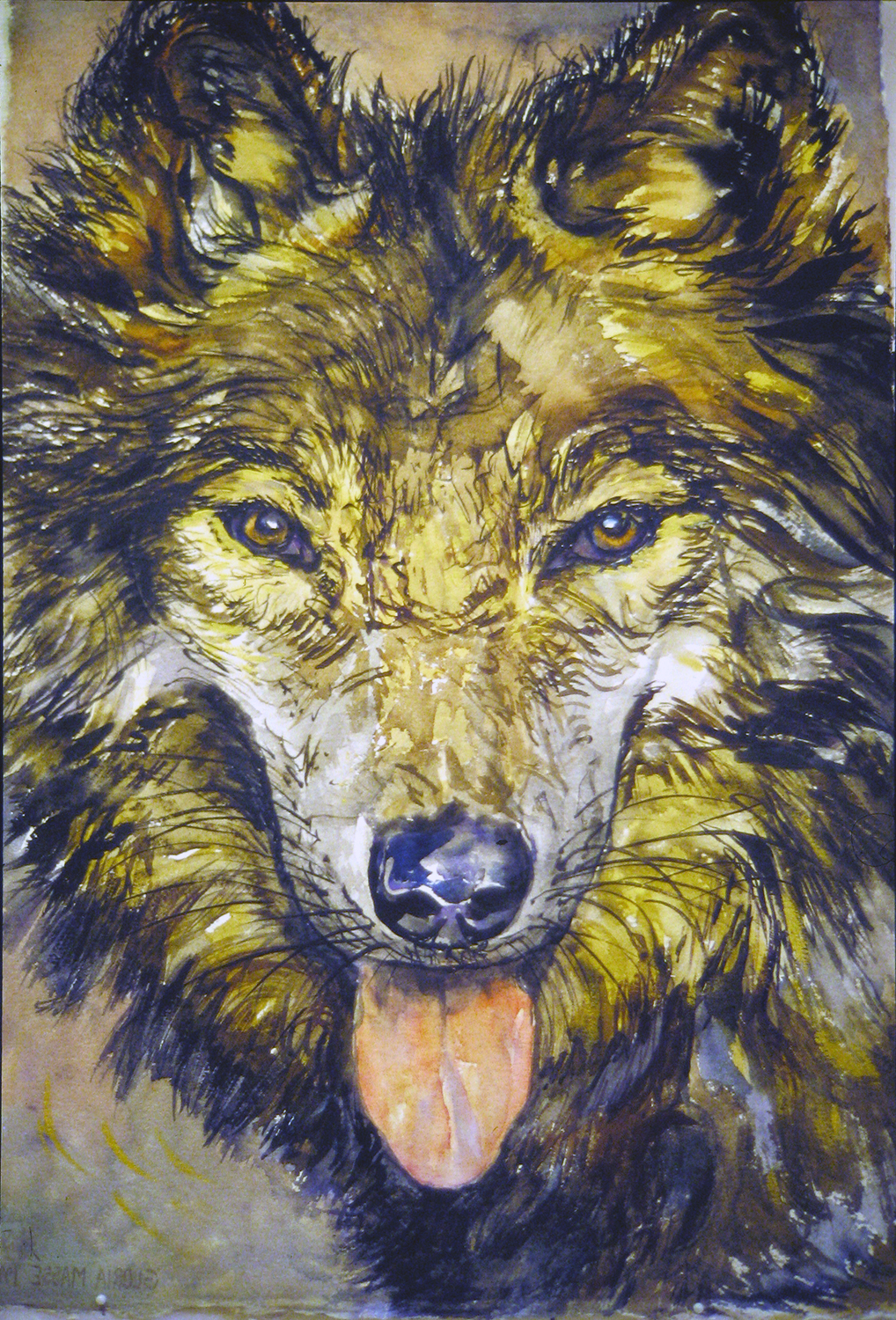 wolf painting 1999 watercolour 22x15