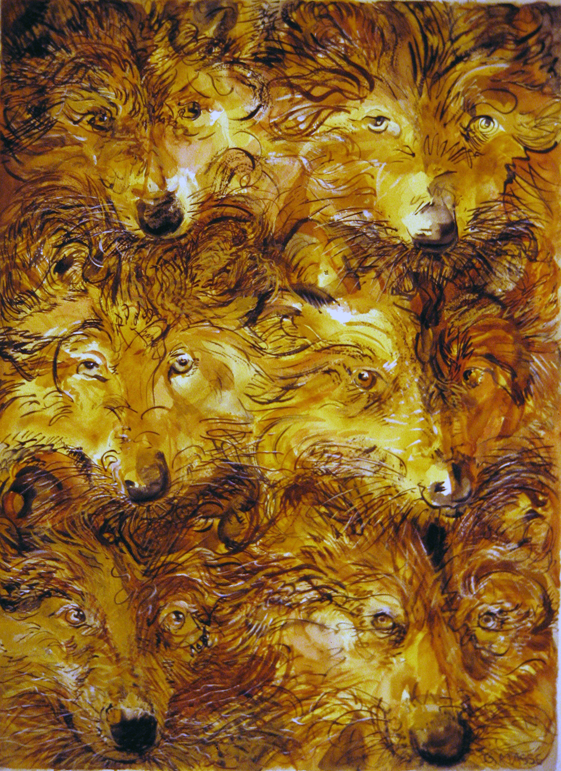 six wolves 1999 watercolour 30x22