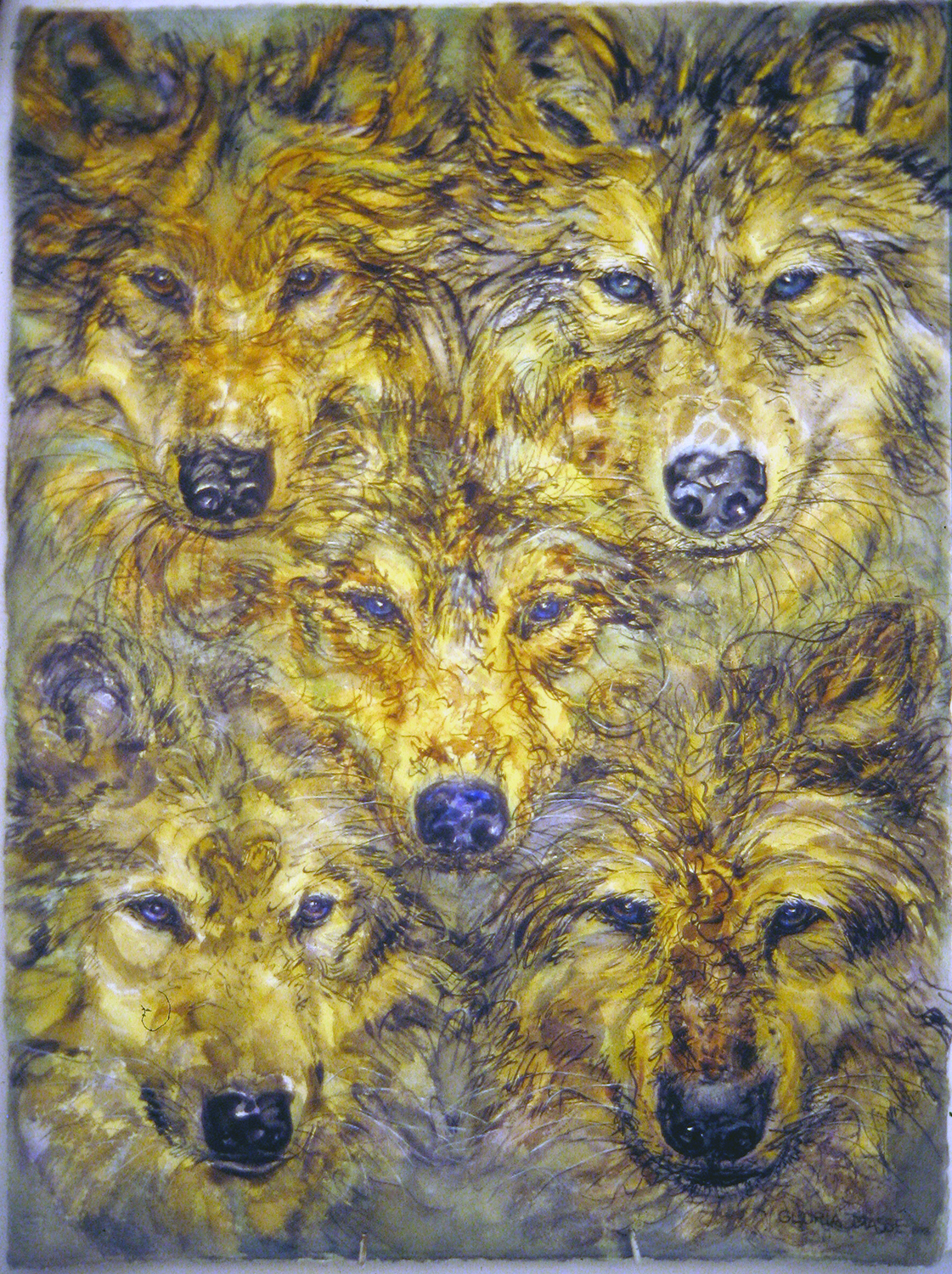 5 wolves 1998 watercolour 30x22