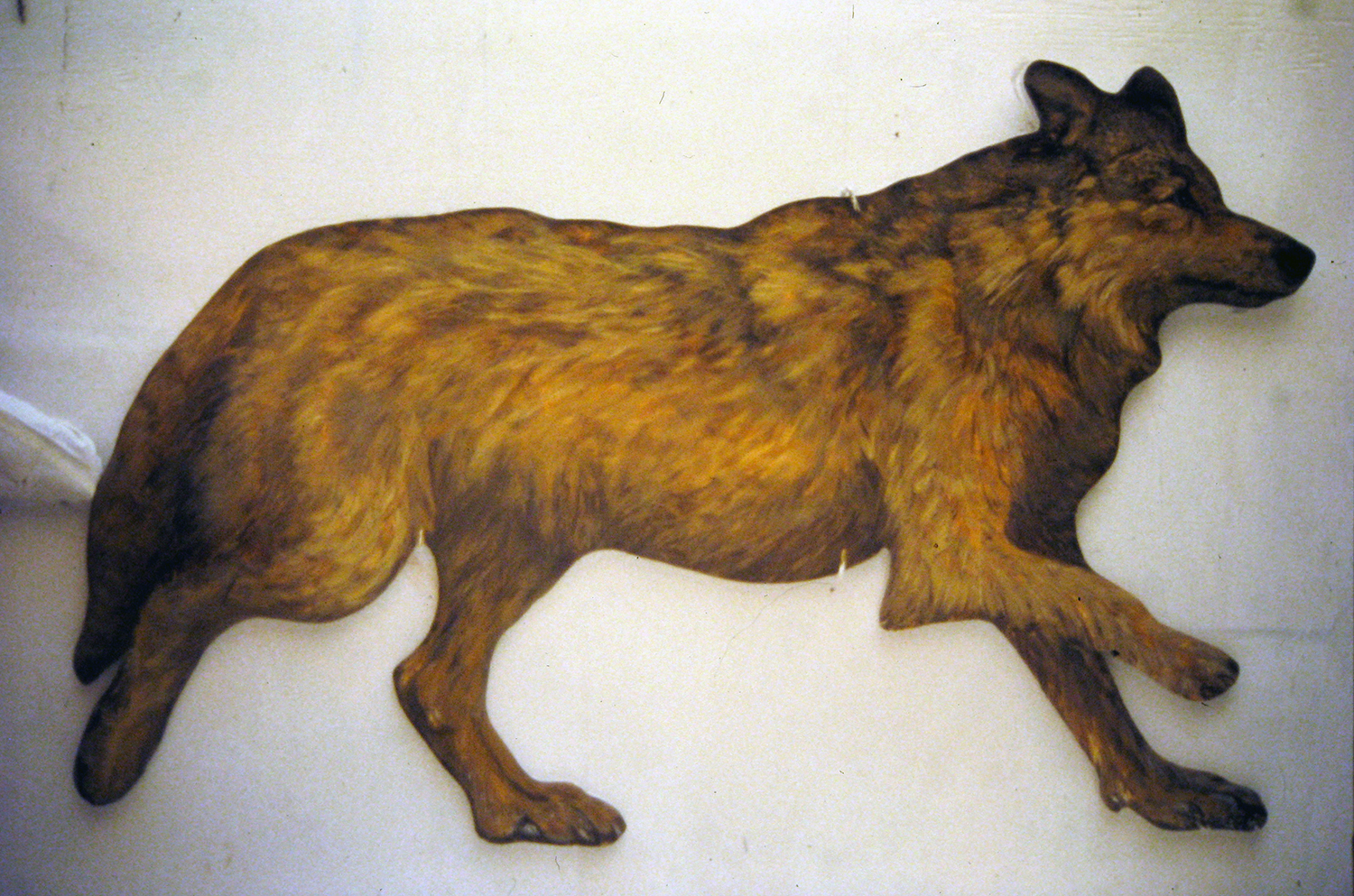 wolf running 1995 acrylic on pine 31x50