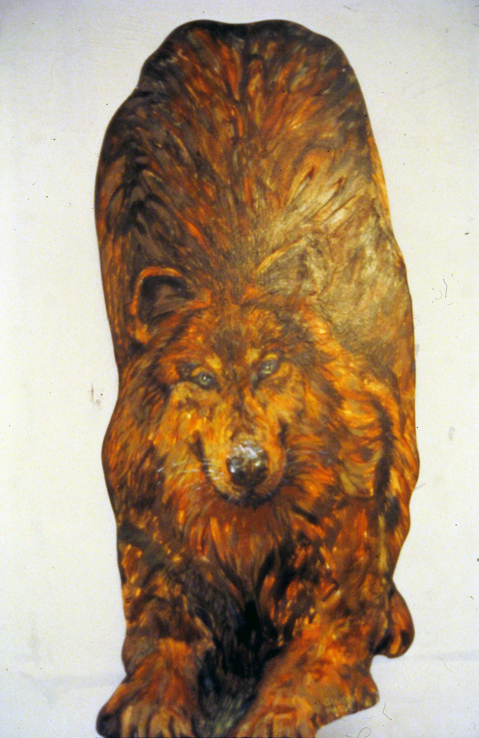 wolf at ploy cut out 1995 acrylic on pine 36x12