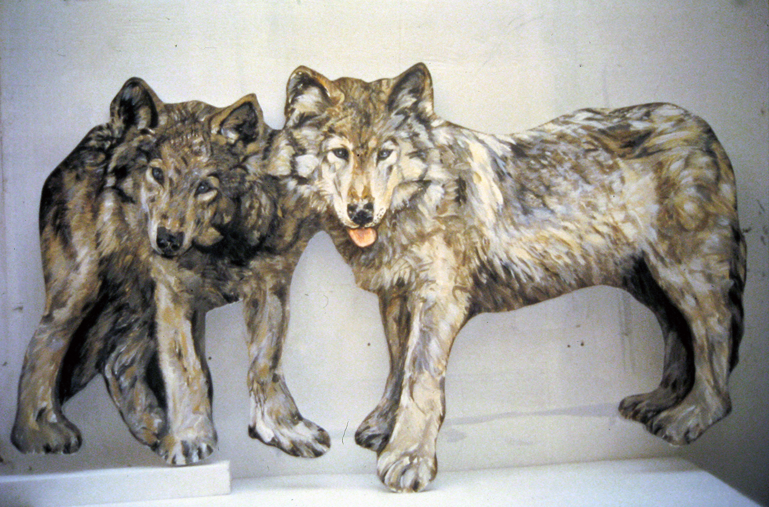 wolf pups 1995 acrylic on pine 24x40