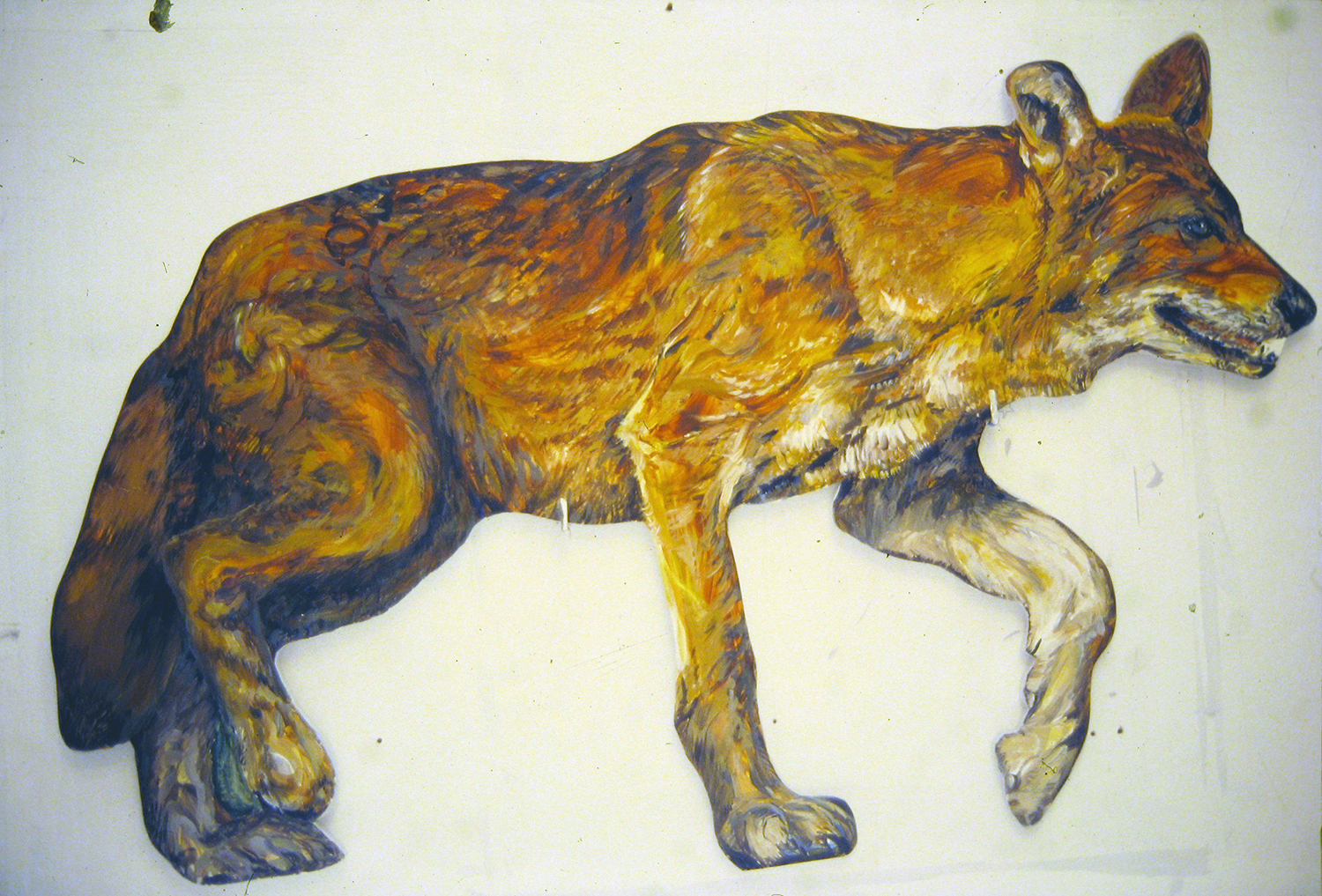 southern red wolf 1995 acrylic on wood 21x37x1