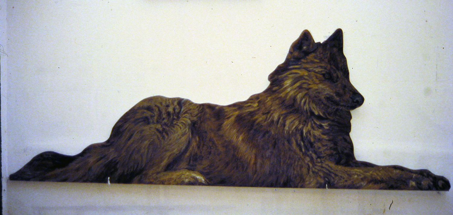 reclining wolf 1995 acrylic on wood 24 x 67