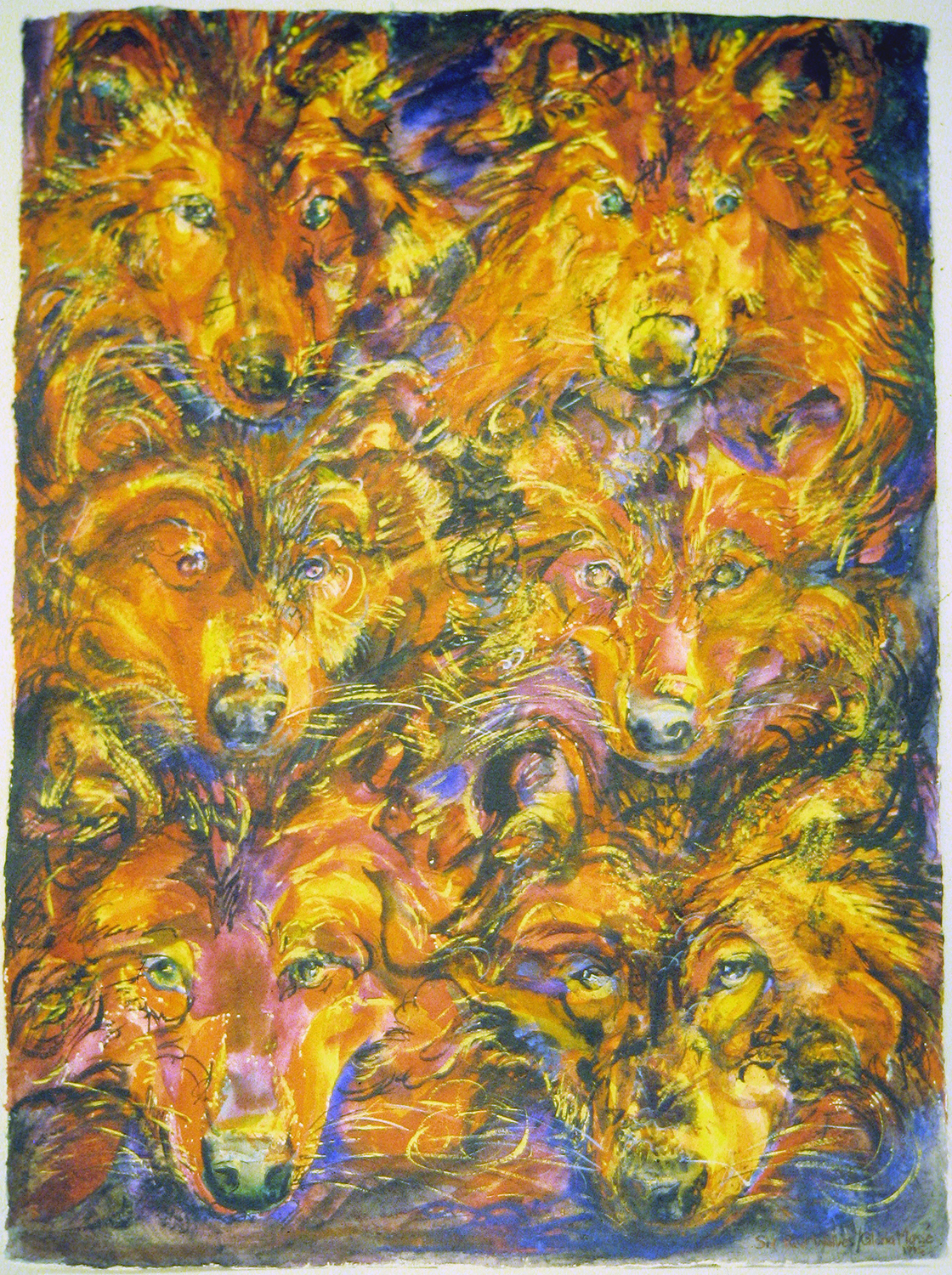 rosehip wolves 1995 watercolour 30x22