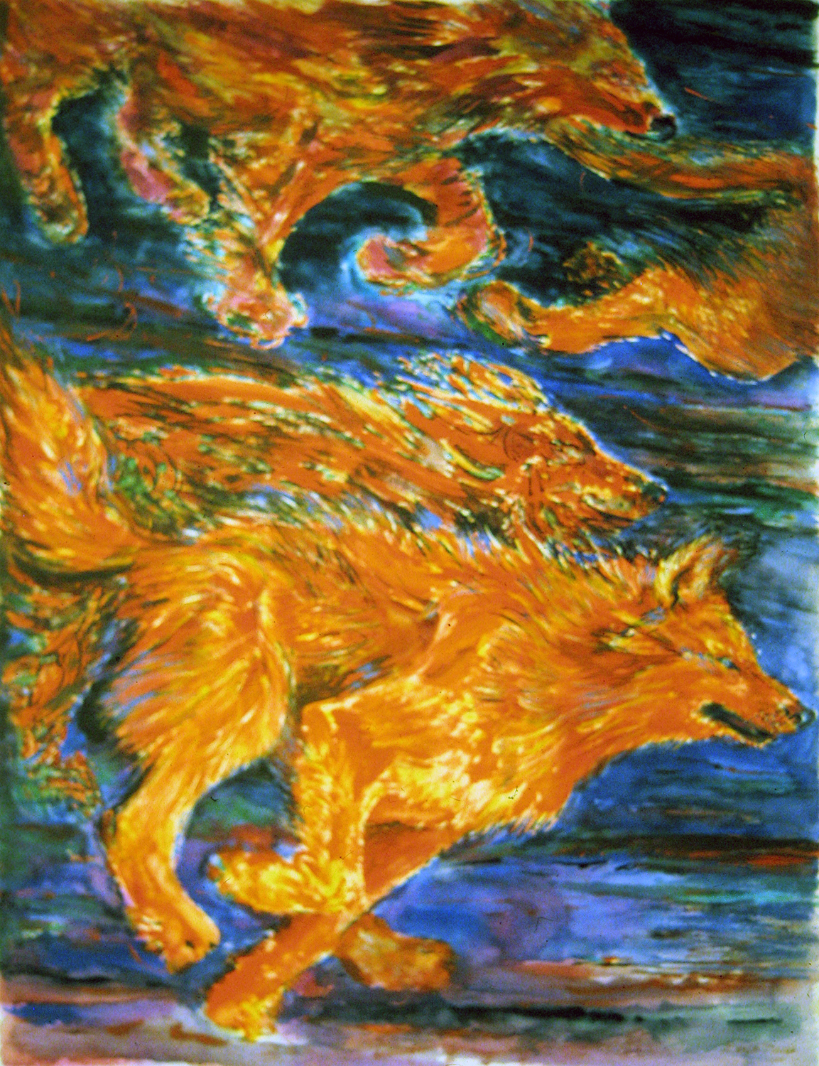 wolves running 1994 watercolour 28x38