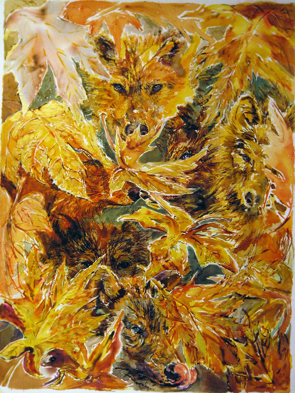 wolves in autumn leaves 1994 28x38