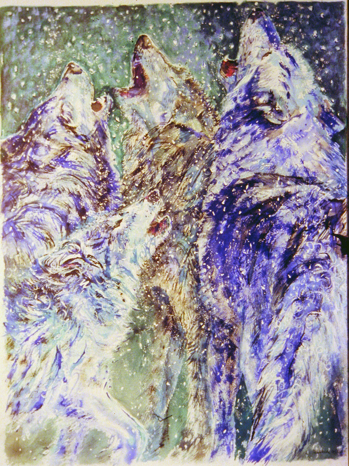 wolves howling in snow 1994 watercolour 28x38
