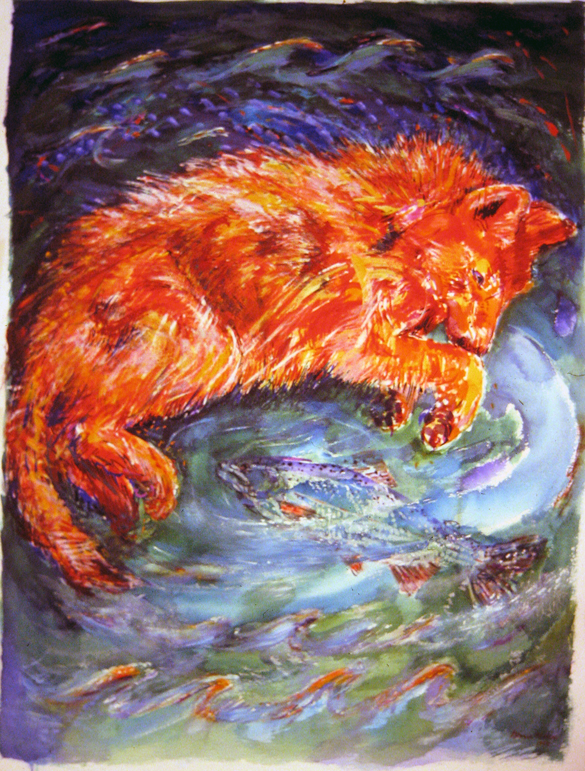 wolf pouncing on salmon 1994 watercolour 28x38