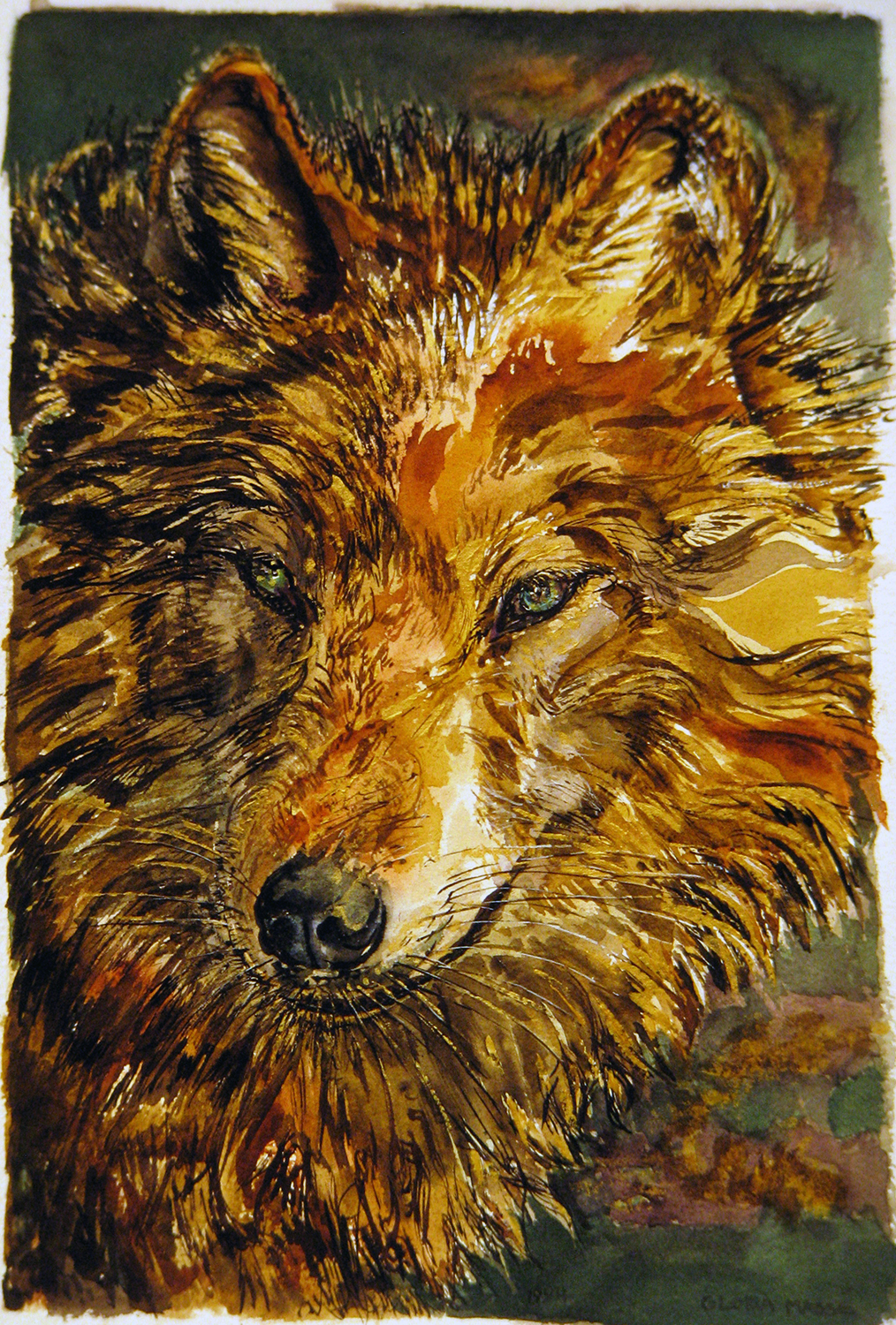 sweet wolf 1994 watercolour 22x15