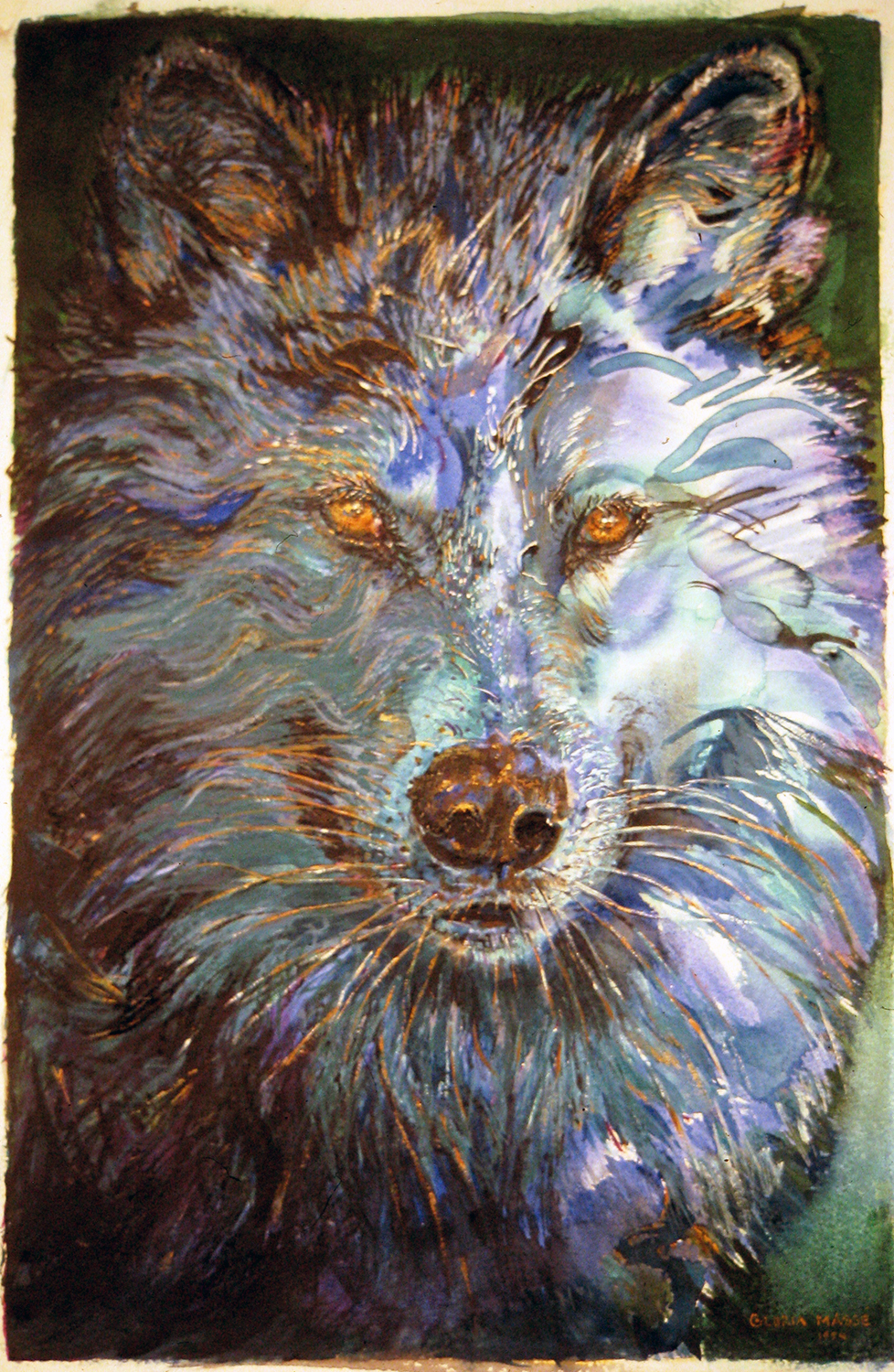 blue wolf 1994 watercolour 21x13