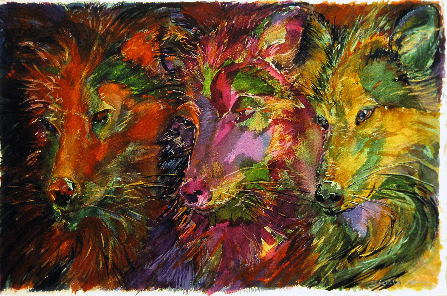 three wolves red green purple 1993 watercolour 22x15