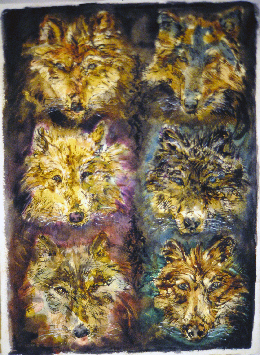 six wolves 1993 watercolour 30x22 (2)