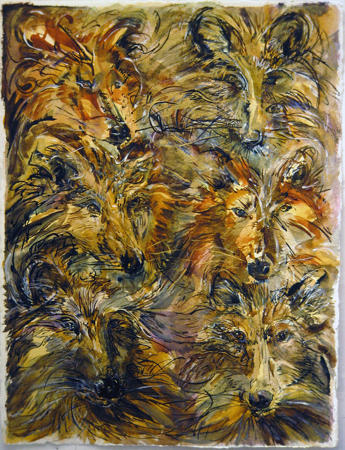 six wolves brown 1993 watercolour 30x22