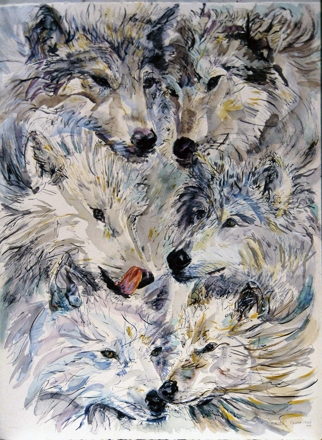 six white wolves 1993 watercolour 30x22